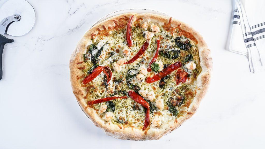 Domenico Osteria Shrimp and Pesto Pizza