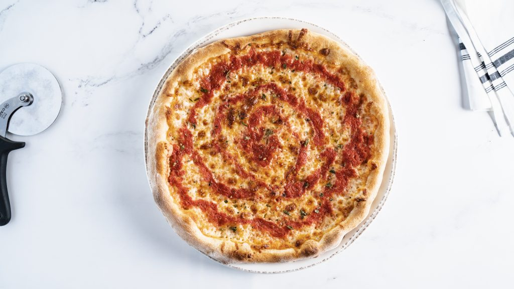 Classic Cheese Pizza with Tomato Swirl